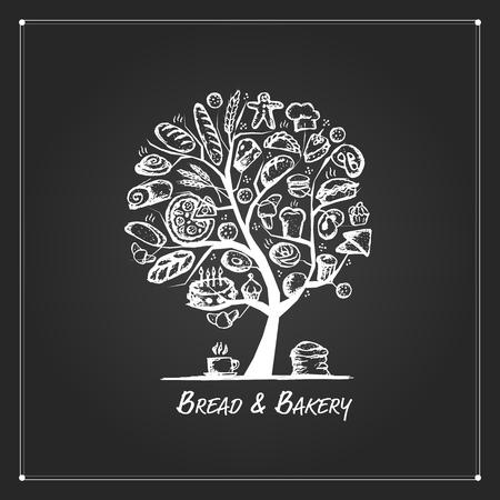 Bakkerij boom concept voor uw ontwerp. vector illustratie
