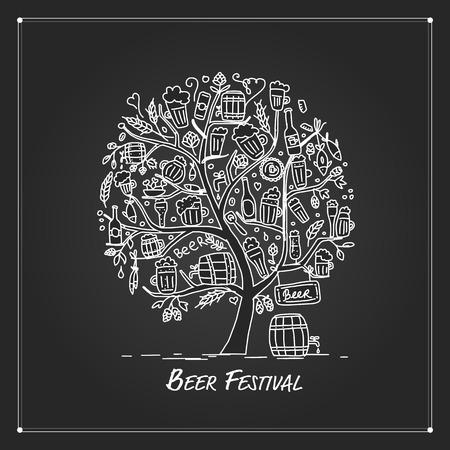 Beer tree, sketch for your design. Vector illustration
