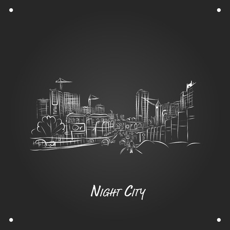 cars on road: Cars on night city road, sketch for your design. Vector illustration