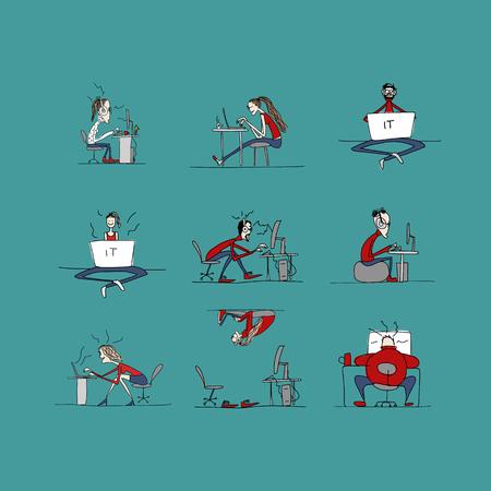 loco: Los programadores en el trabajo, la vida de oficina, boceto de su diseño. ilustración vectorial Vectores