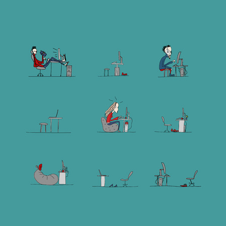 programmers: Programmers at work, office life, sketch for your design. Vector illustration