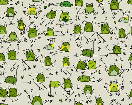 leaping: Funny frogs pattern, sketch for your design. Vector illustration Illustration