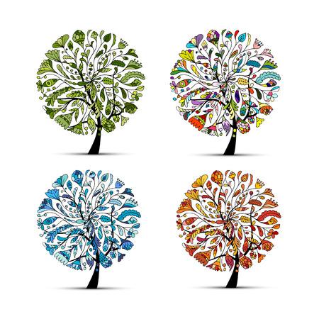 cuatro elementos: Cuatro temporadas - primavera, verano, otoño, invierno. Árbol de arte hermoso para su diseño. ilustración vectorial