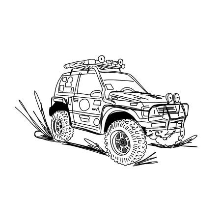 tuned: Tuned SUV car, sketch for your design. Vector illustration Illustration