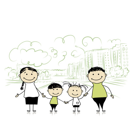 dad son: Happy family in the city. Sketch for your design. Vector illustration