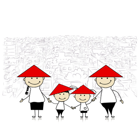 아시아 여행 행복 한 가족입니다. 디자인을위한 스케치합니다. 벡터 일러스트 레이 션
