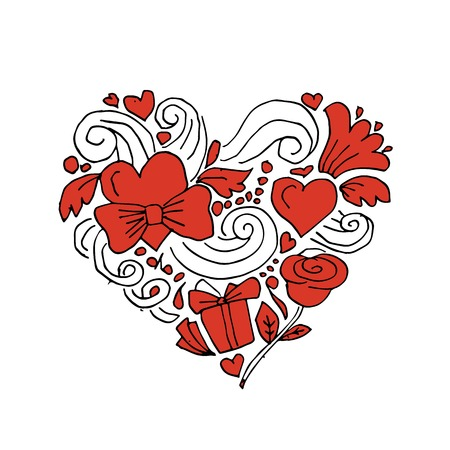 heart sketch: Love, valentine heart, sketch for your design. Vector illustration