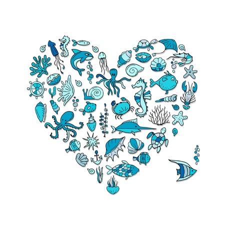 海洋生物は、あなたのデザインのハート形スケッチ。ベクトル図