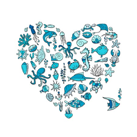 Marine life, heart shape sketch for your design. Vector illustration
