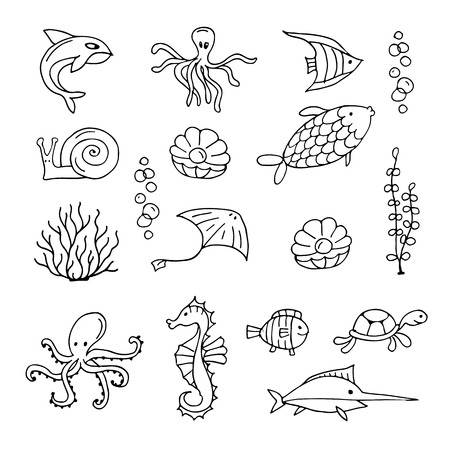 Marine life, collection of sketches for your design. Vector illustration Illustration