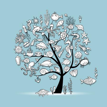 海洋生物は、あなたのデザインの概念ツリー。ベクトル図