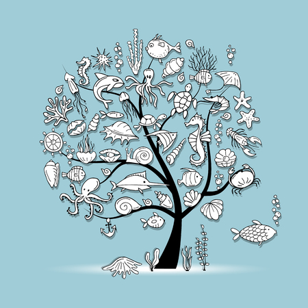 Marine life, concept tree for your design. Vector illustration 向量圖像