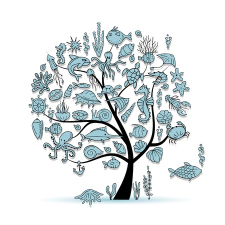 tree of life: Marine life, concept tree for your design. Vector illustration Illustration