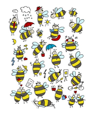 Funny bee collection, sketch for your design. Vector illustration