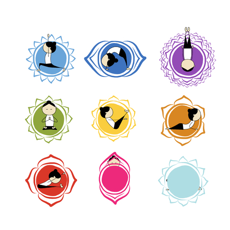 vishuddha: Seven main chakras, sketch foy your design. Vector illustration Illustration