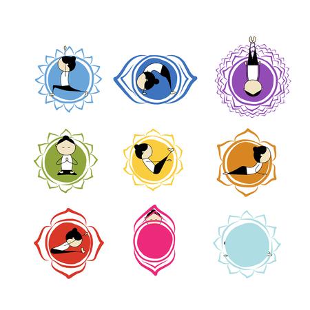 Seven main chakras, sketch foy your design. Vector illustration Illustration