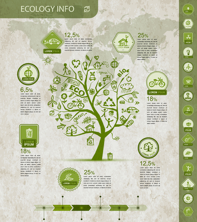 Ecology infographics with green tree, sketch for yuor design. Vector illustration Illustration