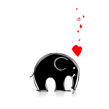big ear: Cute elephant sketch for your design. Vector illustration