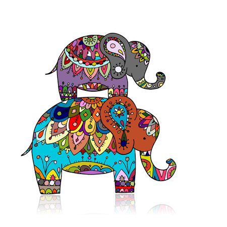 Elephant ornate, sketch for your design. Vector illustration Vetores