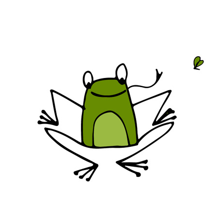 froggy: Funny frog, sketch for your design. Vector illustration