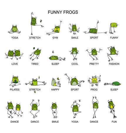 pond water: Funny frogs collection, sketch for your design. Vector illustration Illustration