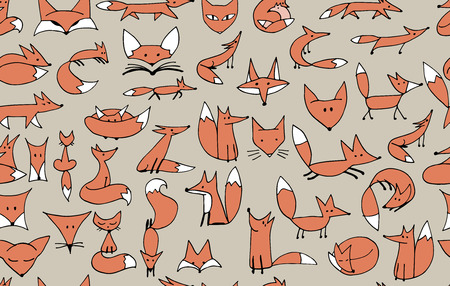 clever: Cute foxes seamless pattern for your design. Vector illustration Illustration
