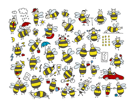 Funny bee collection, sketch for your design. Vector illustration Stock Vector - 58541286