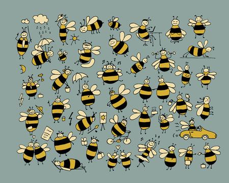 재미 꿀벌 수집, 디자인을위한 스케치. 벡터 일러스트 레이 션