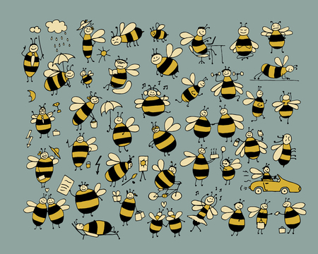comic wasp: Funny bee collection, sketch for your design. Vector illustration