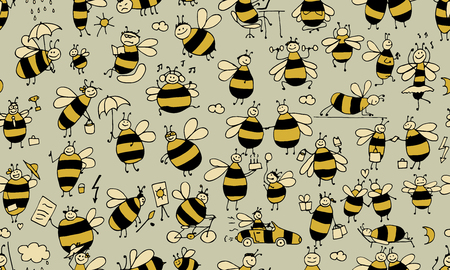 busy bees: Funny bees, seamless pattern for your design. Vector illustration