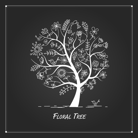 painting art: Art floral tree for your design on black background