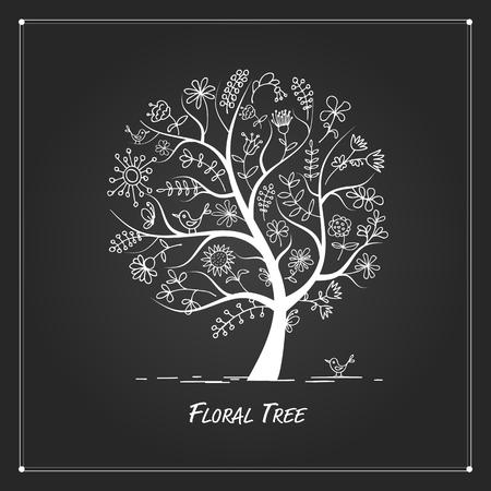 arte abstracto: Árbol floral del arte para su diseño sobre fondo negro Vectores