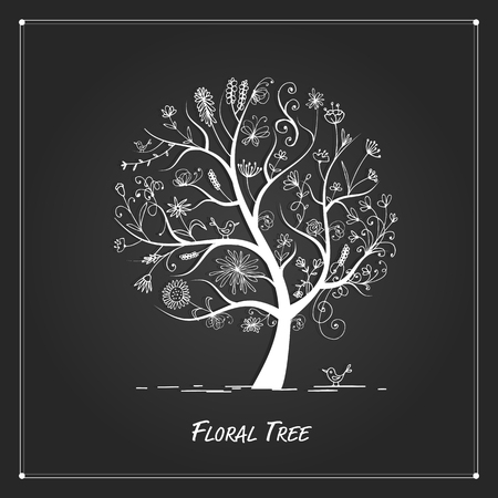 floral abstract: Art floral tree for your design on black background
