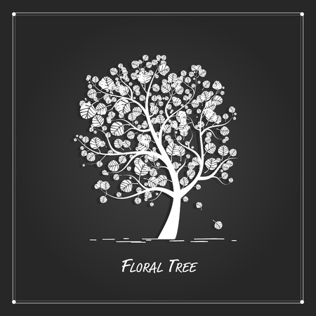 tree silhouette: Art tree for your design on black background