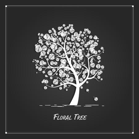 Art tree pour votre conception sur fond noir Banque d'images - 58728758