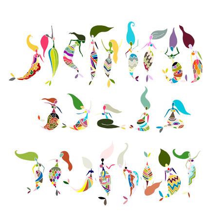 cola mujer: Mermaid recogida, boceto de su diseño. Vectores