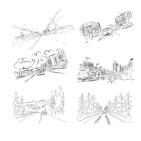 cars on road: Cars on city road, set of hand drawn illustrations for your design. Vector illustration