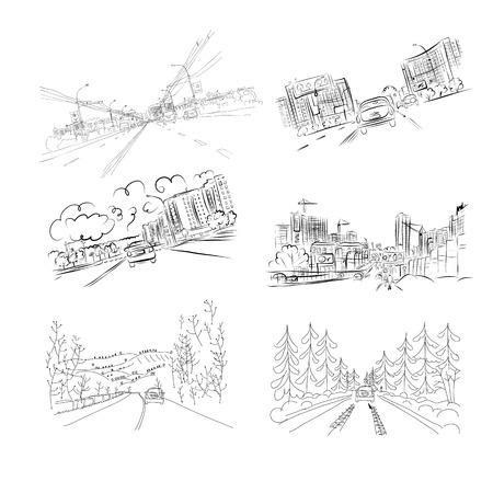 Coches en la carretera de la ciudad, conjunto de ilustraciones de dibujado a mano para su diseño. Ilustración vectorial