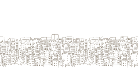 suburb: Abstract cityscape background, seamless pattern for your design. Vector illustration