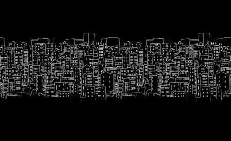 Abstract cityscape background, seamless pattern for your design. Vector illustration Vetores