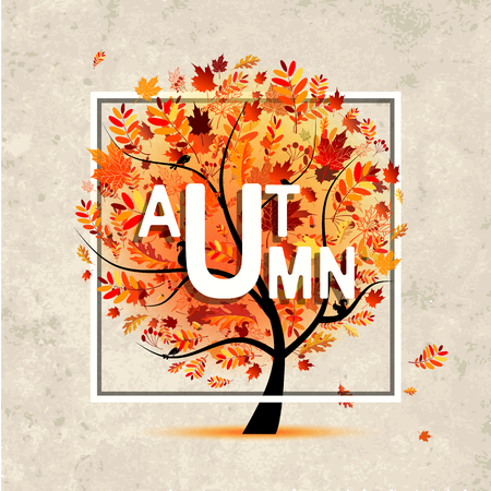 grunge tree: Autumn tree, banner on grunge paper for your design. Vector illustration