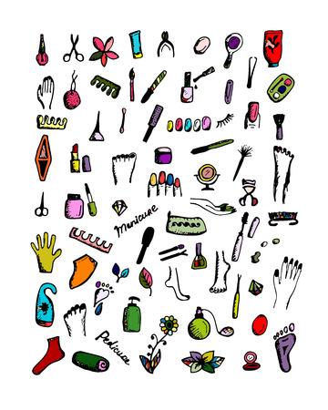 pedicure set: Manicure and pedicure set, sketch for your design. Vector illustration