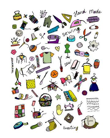 Sewing set, sketch for your design. Vector illustration Vettoriali