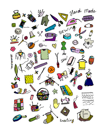 Sewing set, sketch for your design. Vector illustration Ilustração