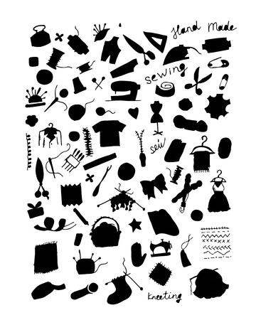 knitting: Sewing set, sketch for your design. Vector illustration Illustration