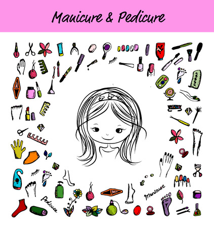 pedicure: Manicure and pedicure set, sketch for your design. Vector illustration