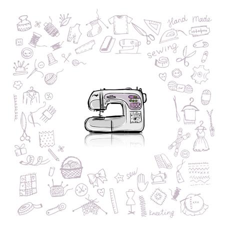 Sewing set, sketch for your design. Vector illustration Stock Illustratie