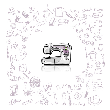Sewing set, sketch for your design. Vector illustration Vettoriali