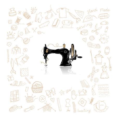 coser: Conjunto de costura, boceto de su diseño. ilustración vectorial