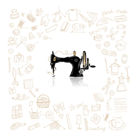 sew: Sewing set, sketch for your design. Vector illustration Illustration